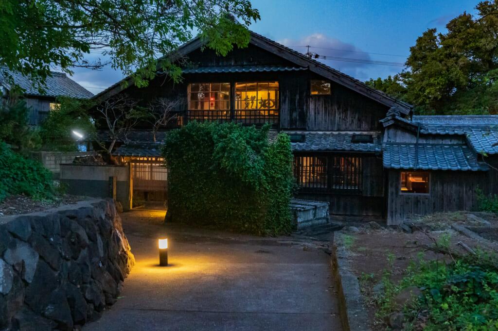 A night view of Fujimatsu restaurant on Ojika Island