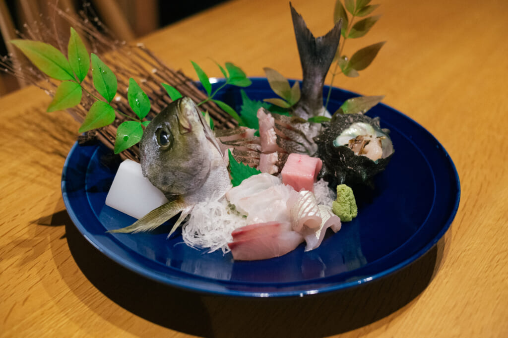 A plate of fresh sashimi from Ojika Island restaurant Fujimatsu