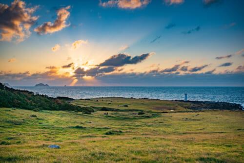 sunset over a cow pasture on ojika island