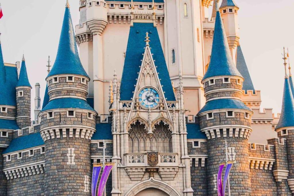 view of Cinderella's castle up close at Tokyo Disneyland