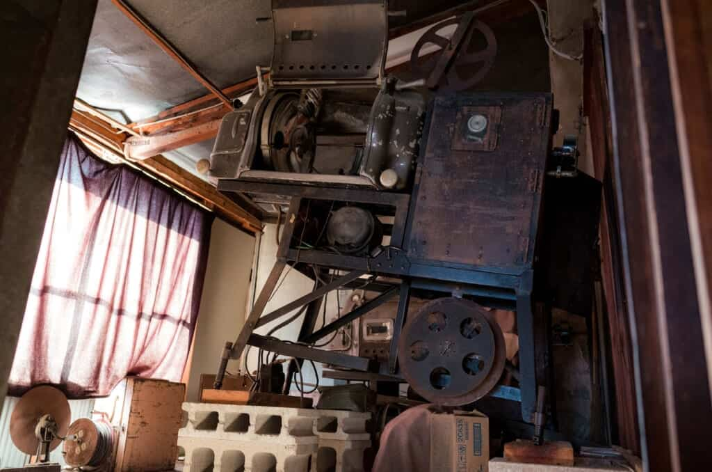 Old cinema projector in a Japanese rural theater