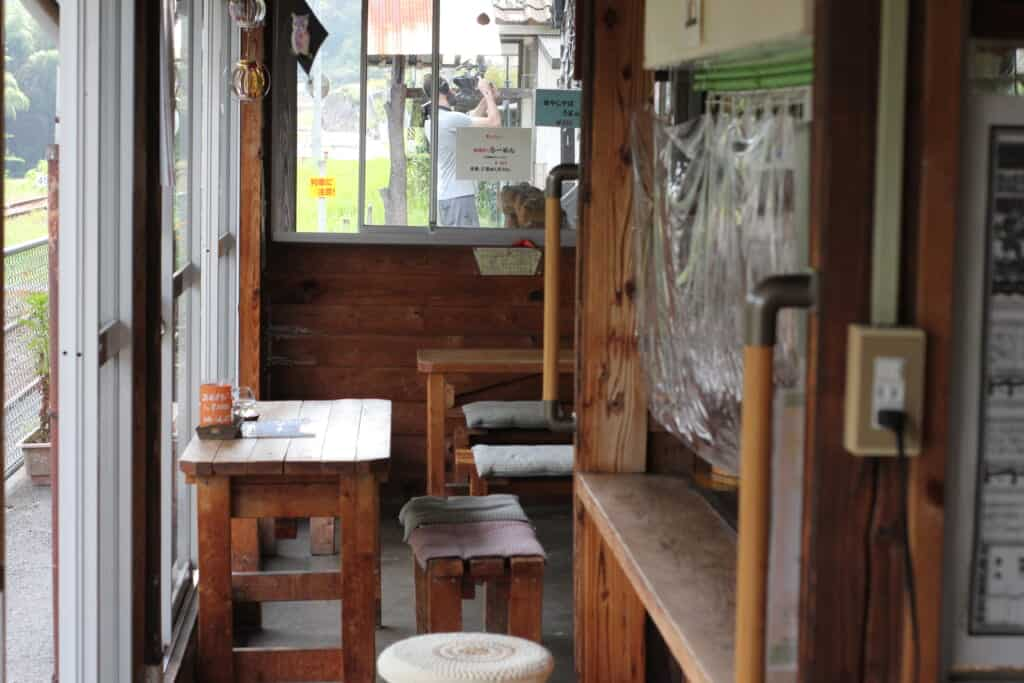 Inside a small wooden station in rural Japan
