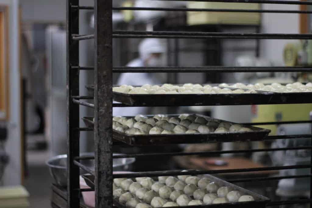 Manju on trays, before baking