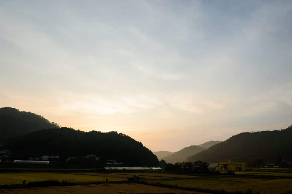 Japanese rural landscape at twilight, near Joge in Hiroshima