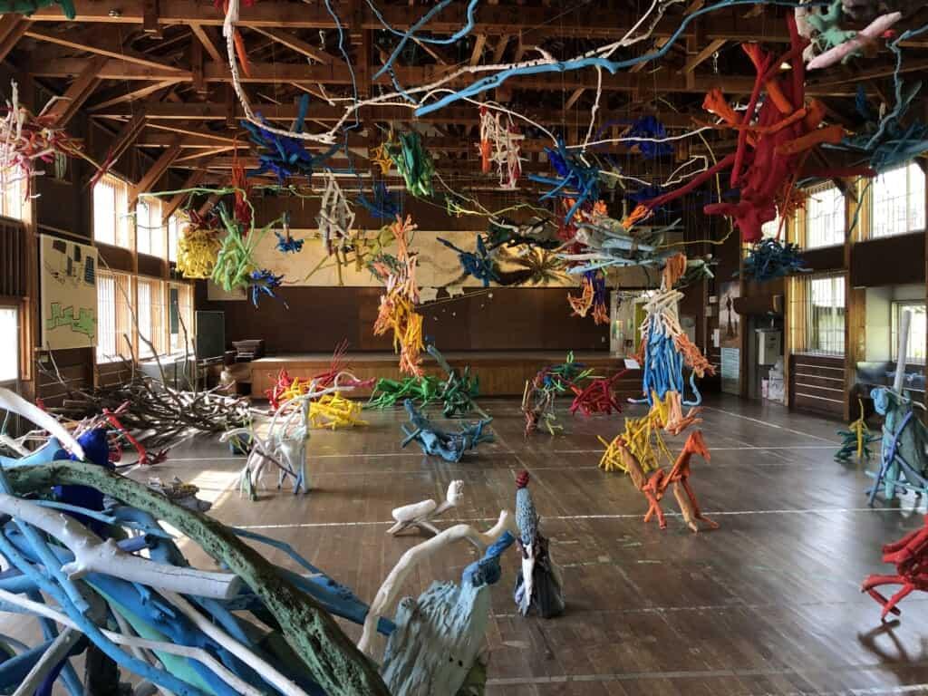 Art works in a former Japanese school in Niigata