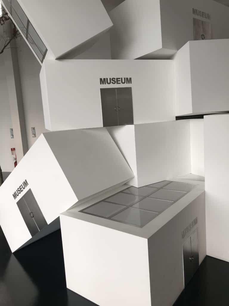 """White blocks on which is written """"museum"""", Echigo-Tsumari Satoyama Museum of Contemporary Art,"""