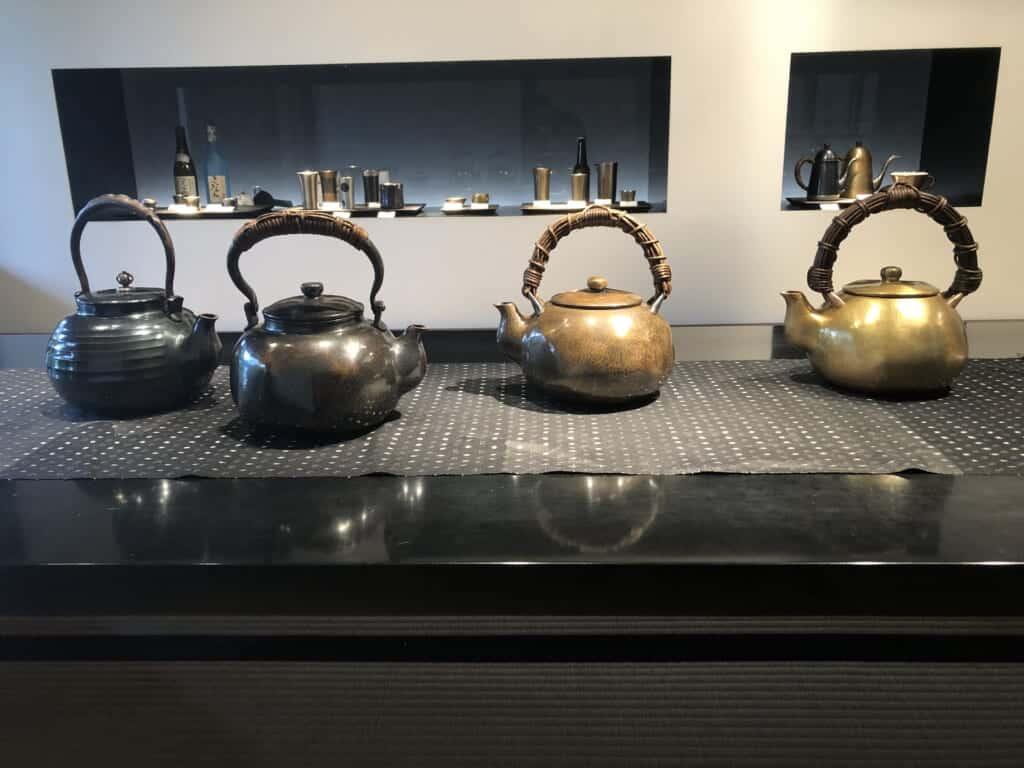 Metal teapots crafted at Gyokusendo in Niigata, Japan.