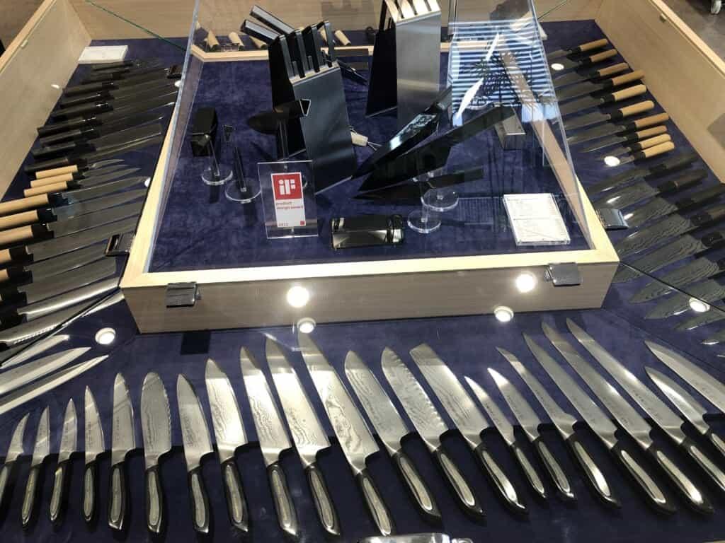 Japanese knifes displayed