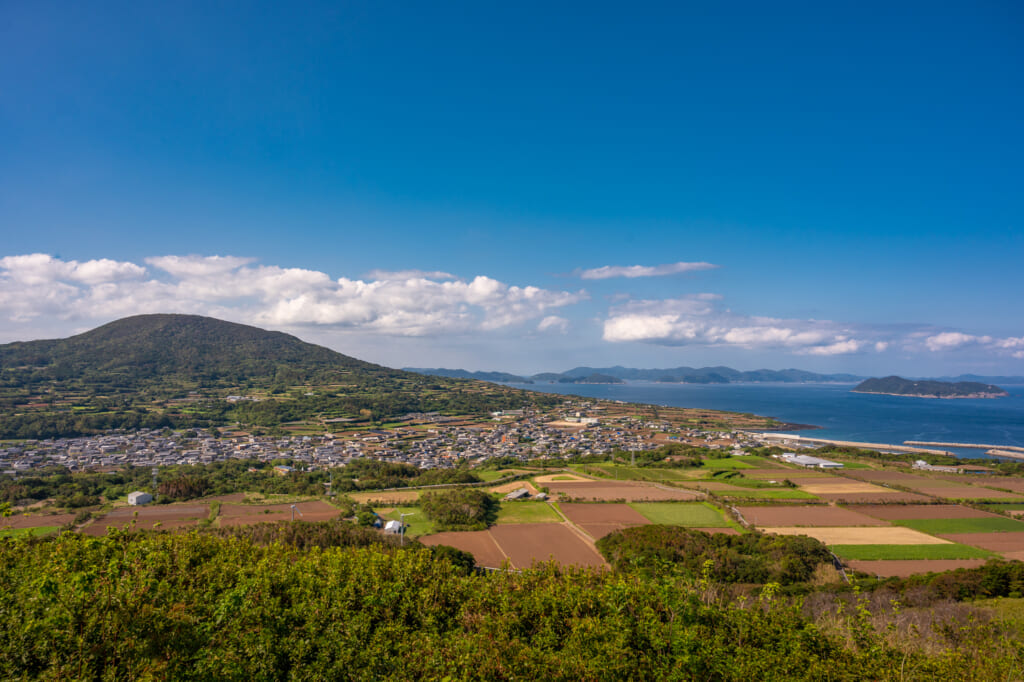 View of Goto from an observation point on a dormant volcano