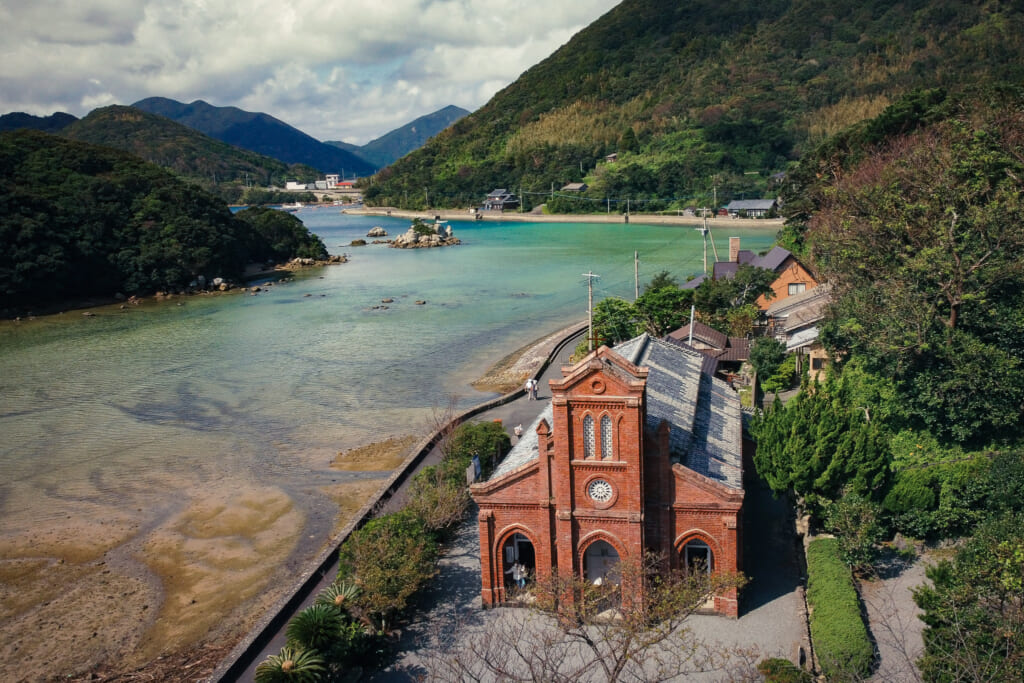 A drone eye view of hidden christian monument Dozaki church on the Goto islands