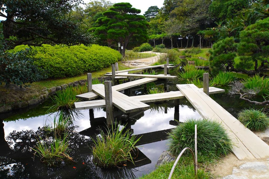 Wooden plank footbridge