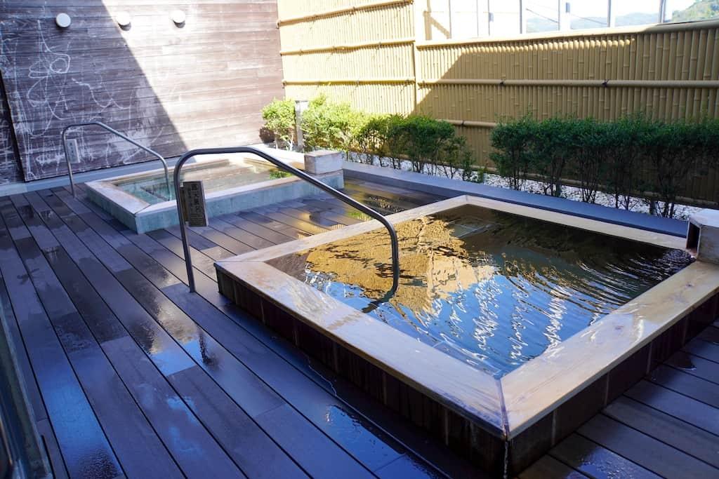 Onsen Rotenburo on the patio in Okayama