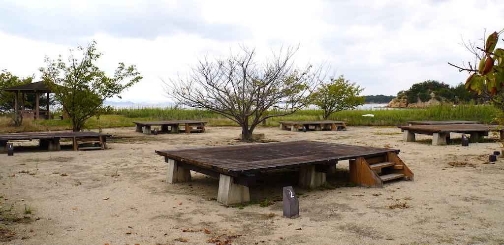 Camping platforms on the sand