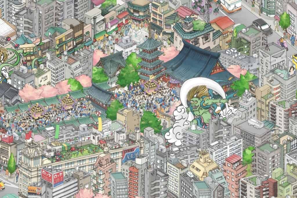 Asakusa area: teamLab mural in Tokyo Sky Tree