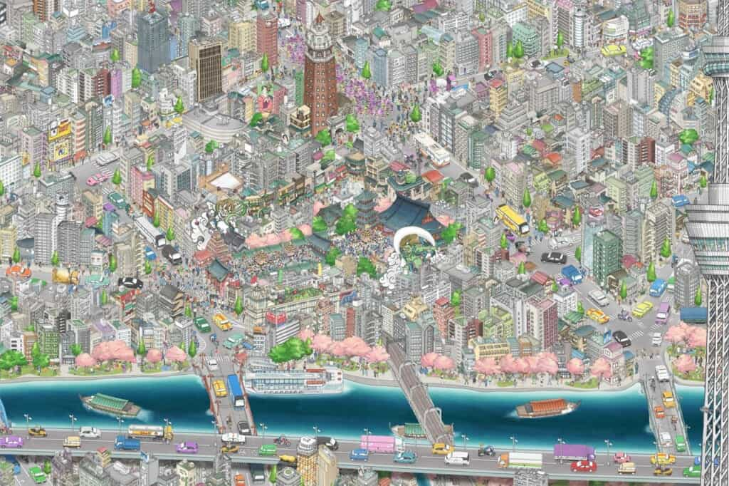 TeamLab mural in Tokyo Sky Tree