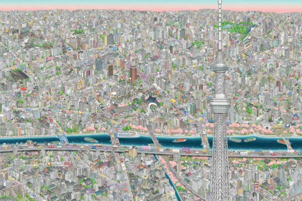 SkyTree Views: teamLab Mural at Tokyo Sky Tree