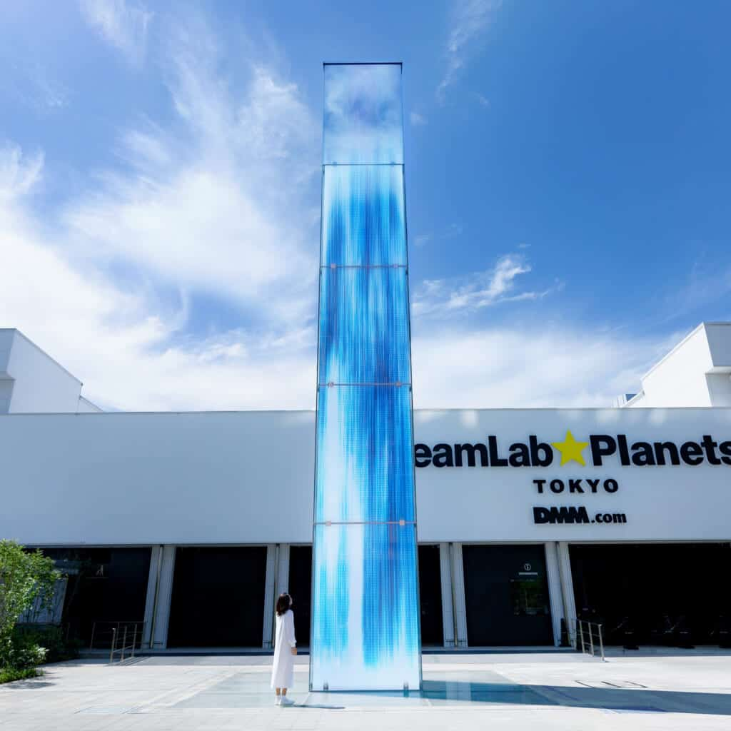 digital waterfall at the entrance of teamlab planets