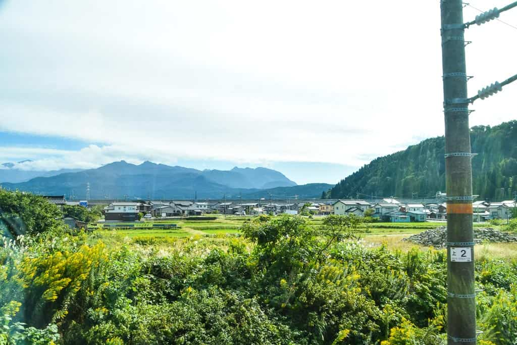View of niigata landscape from Setsugekka train