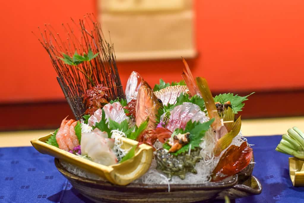 Sushi boat at Hotel Urashima Ryokan on Sado Island, Niigata
