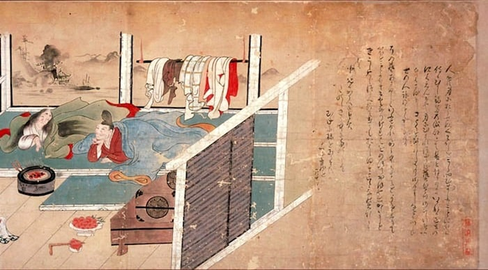illustration of upper class scene resting on tatami