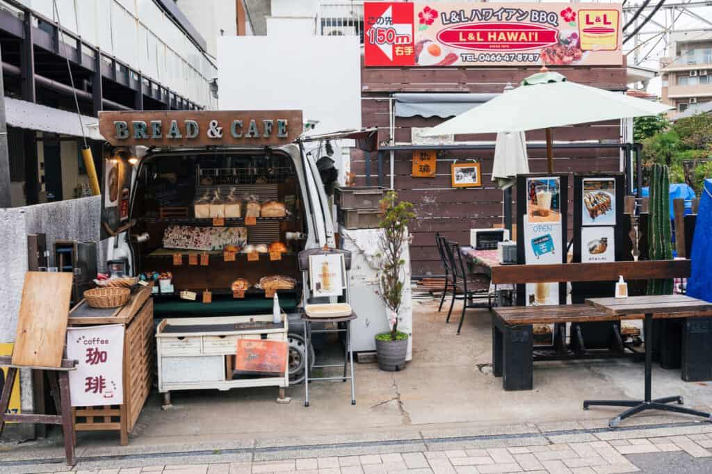 bread and cafe truck on subana street in enoshima