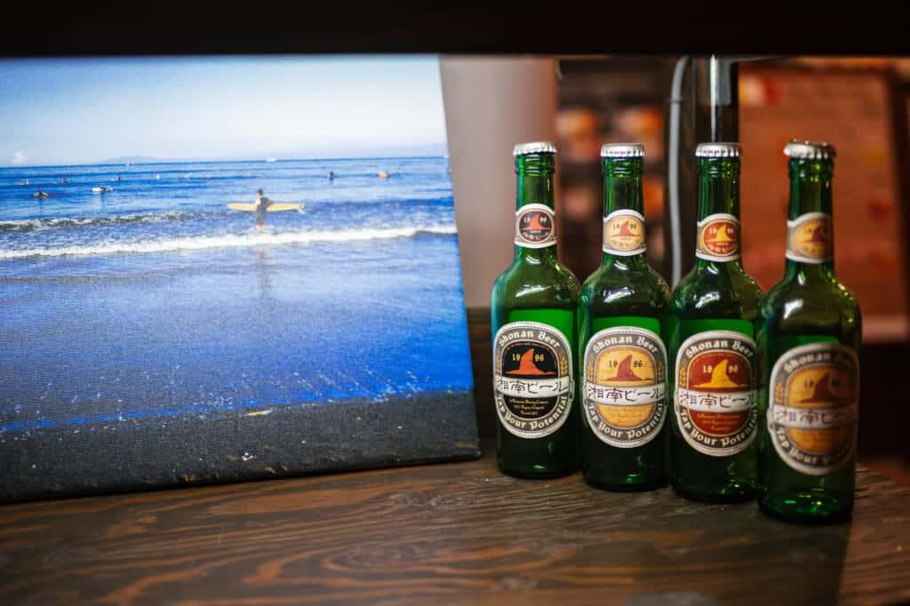 shonan beer bottles at enoshima cafe