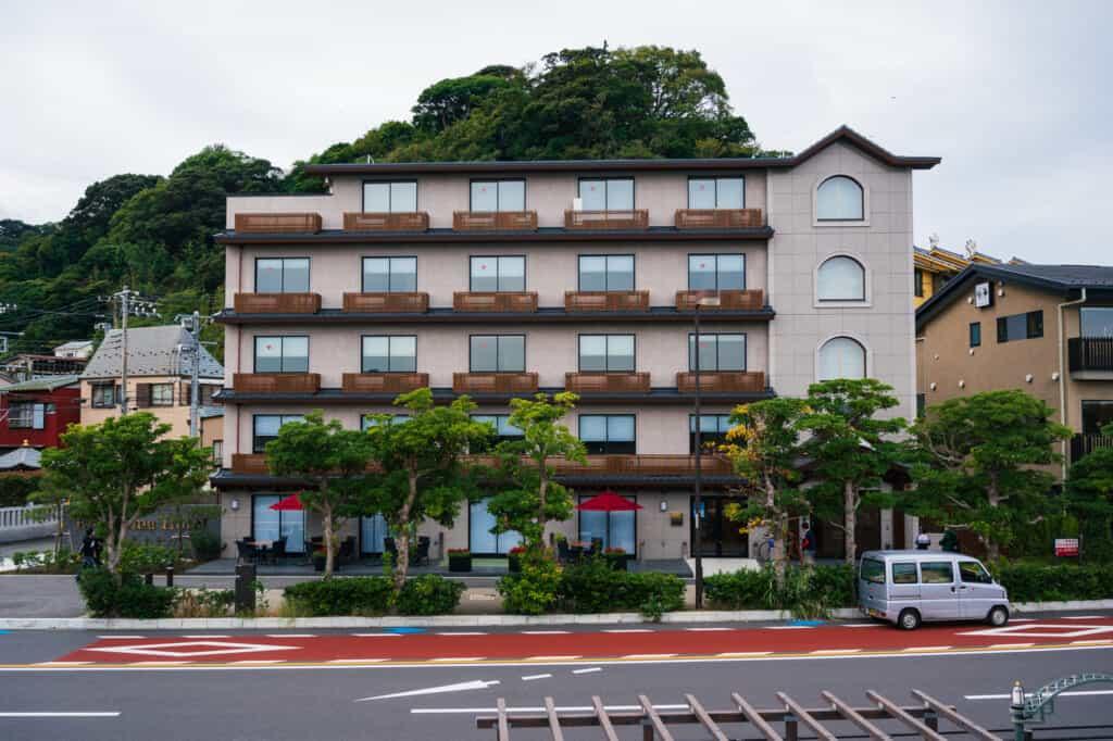 Exterior view of enoshima hotel on enoshima island