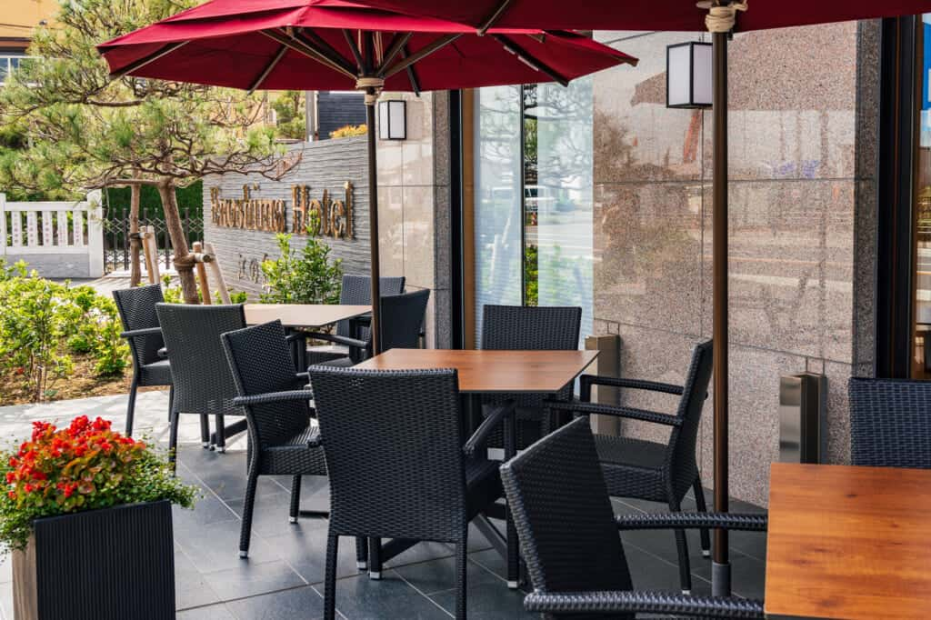 restaurant patio at enoshima hotel