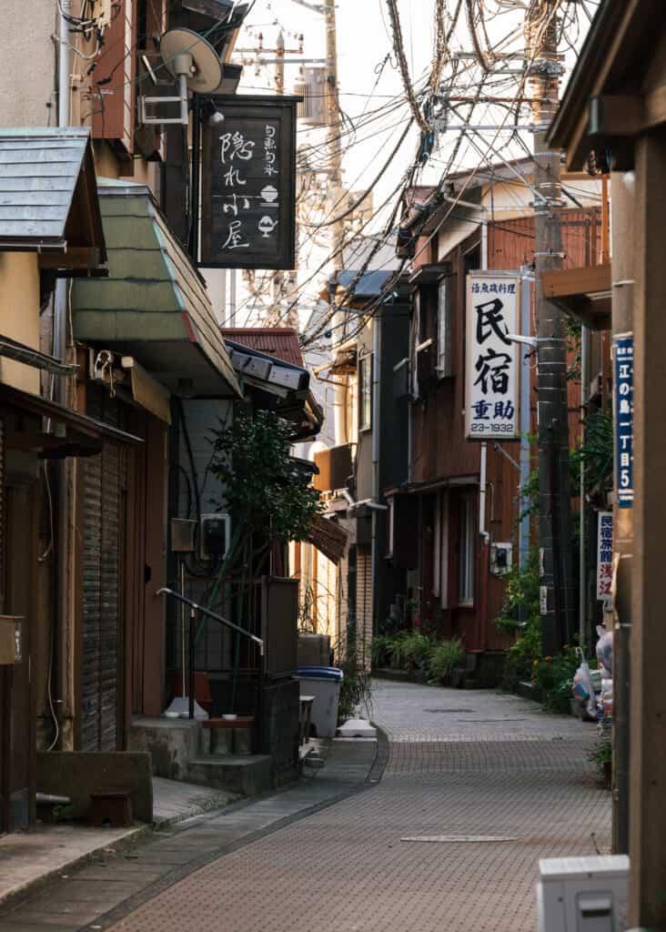 empty street of higashi-machi neighborhood on enoshima island