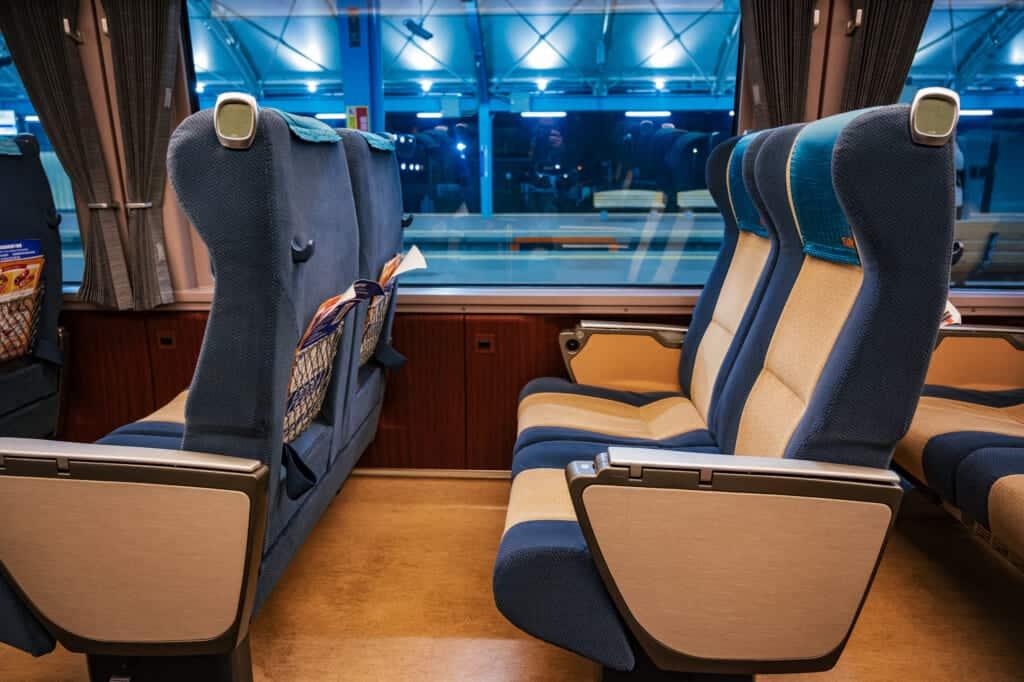 interior of odakyu romance car train