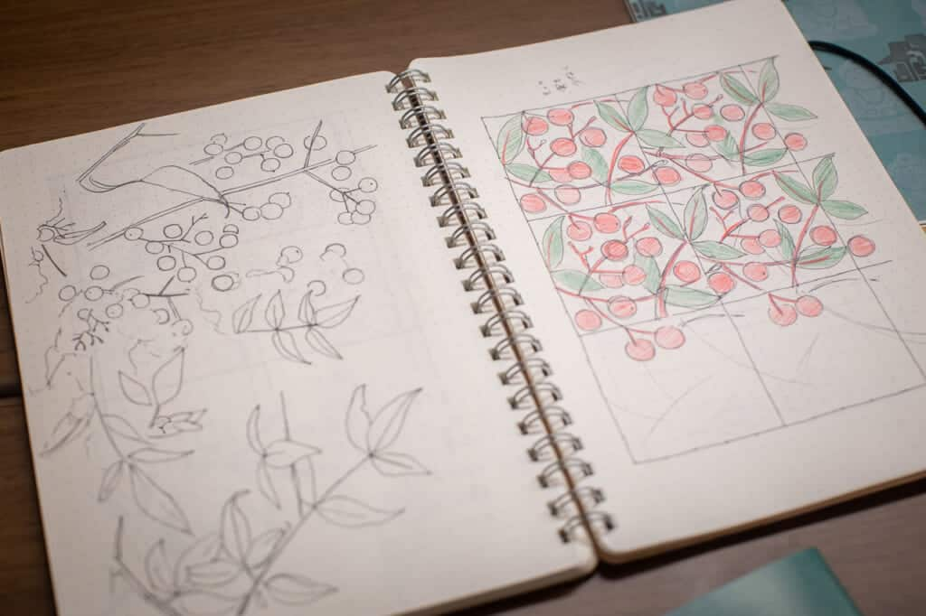 handmade japanese pattern sketched in a note book