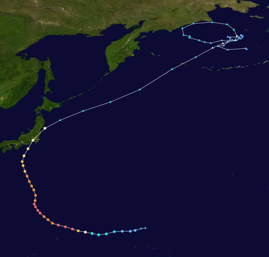 The path of Typhoon Hagibis in 2019 in Japan.