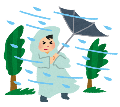 Illustration of a Japanese outside during typhoons in Japan