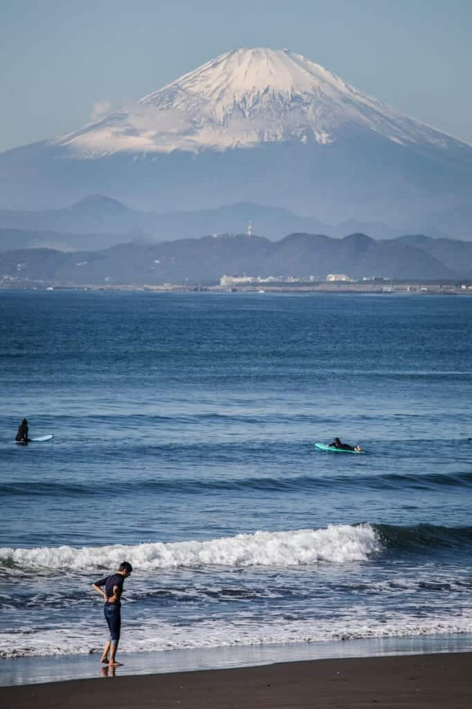 Mount Fuji, one of the Volcanoes in Japan, from Enoshima
