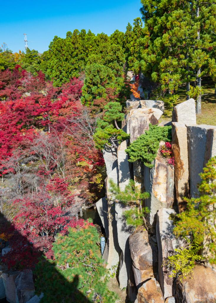 autumn foliage in Japanese cliffside  near Kyoto