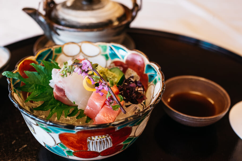 traditional Japanese meal with raw sashimi