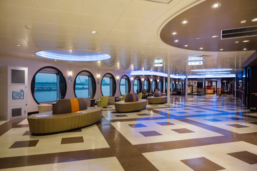 common area for guests aboard the Sunflower Ferry in Japan