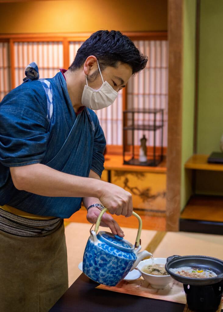 ochazuke tea meal at traditional japanese restaurant in beppu