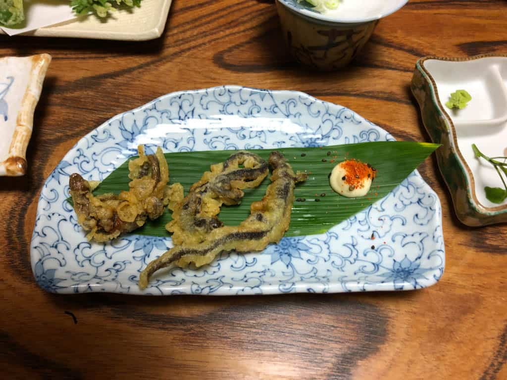 salamander tempura in japan