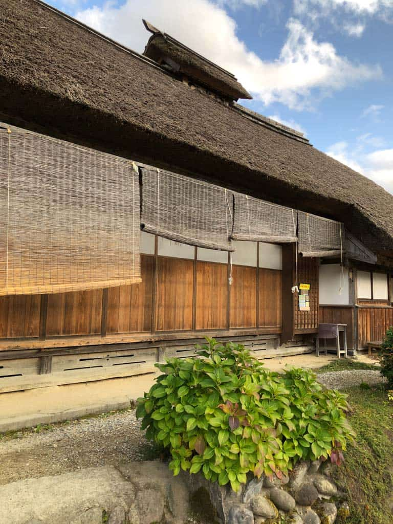 close up of thatched roof traditional houses along the Ouchi-juku post town in japan