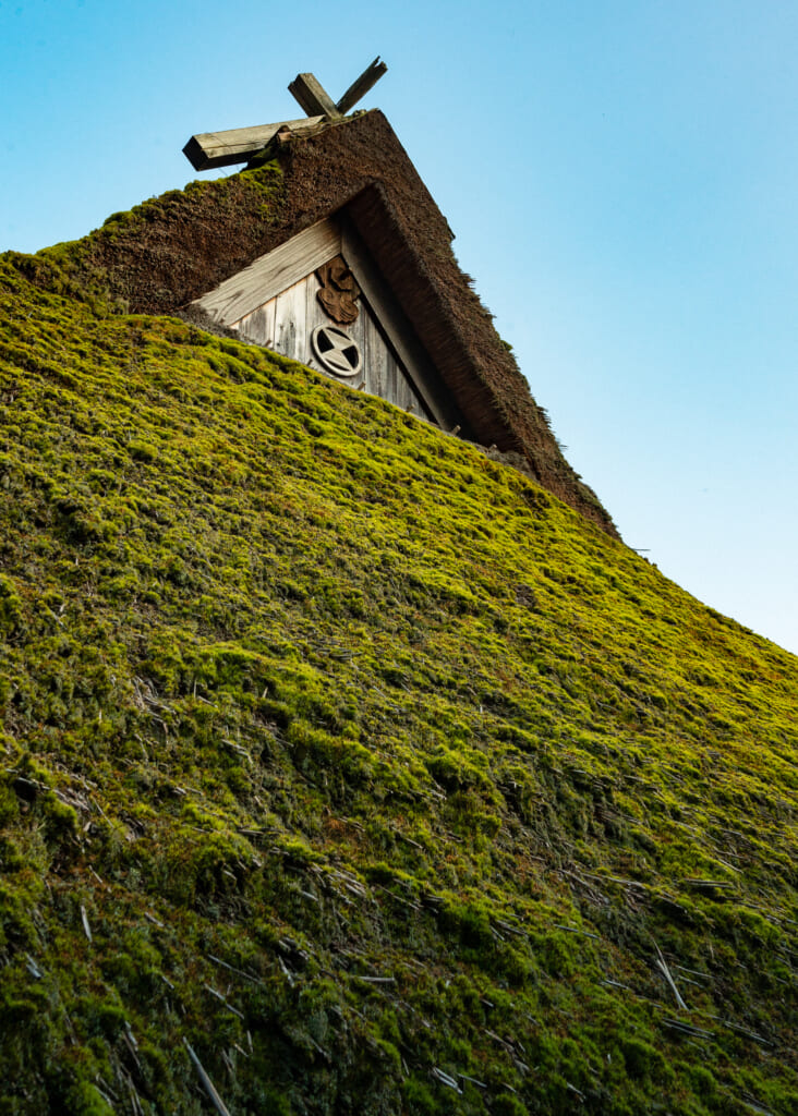detail of thatched roof house in japan in kayabuki no sato