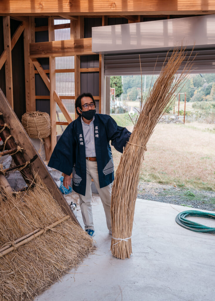 straw used for japanese thatched roof house near kyoto