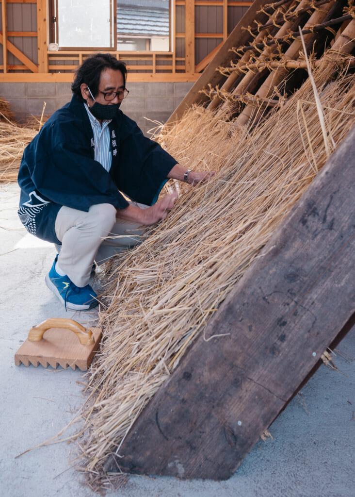 building japanese thatched roof in kayabuki no sato