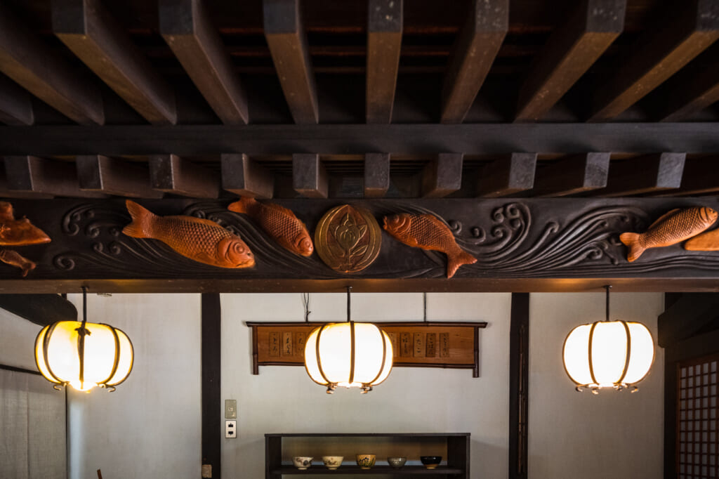 wood carvings in traditional japanese house