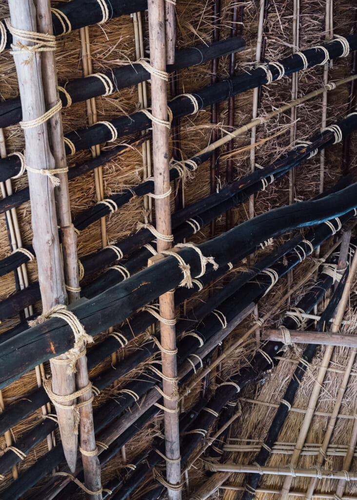 interior detail of traditional japanese thatched roof house