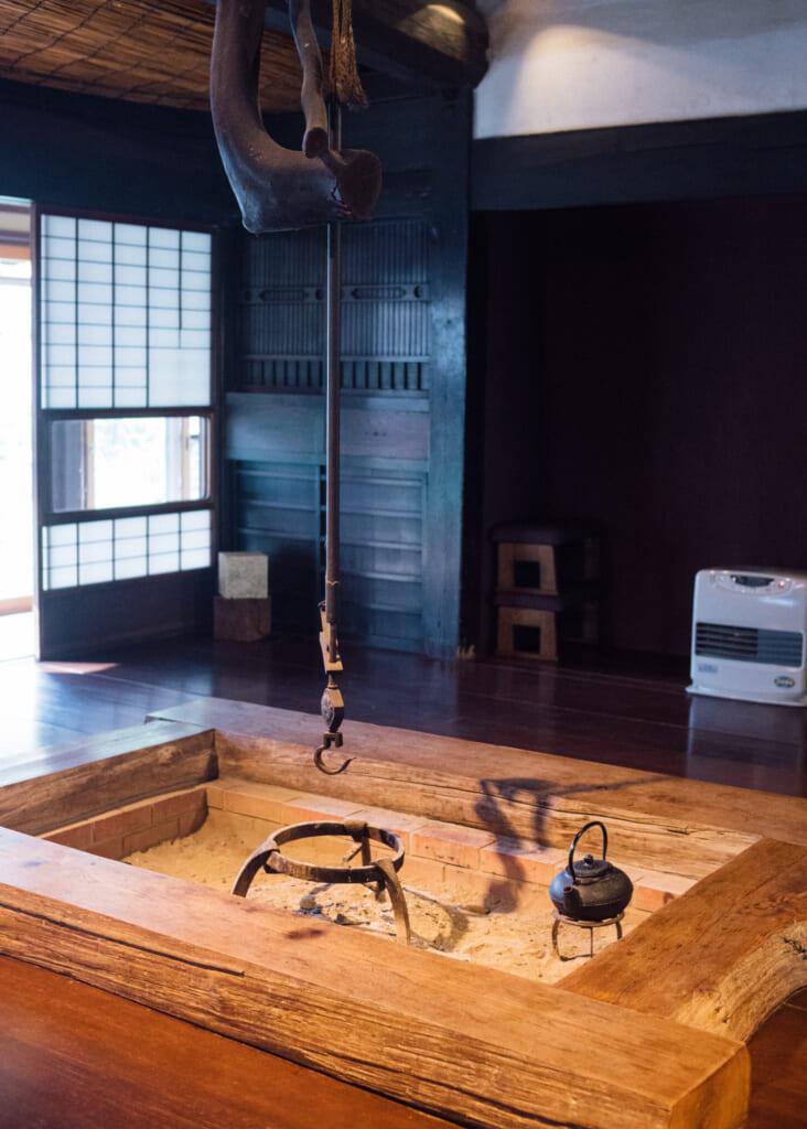 Japanese irori in traditional Japanese house