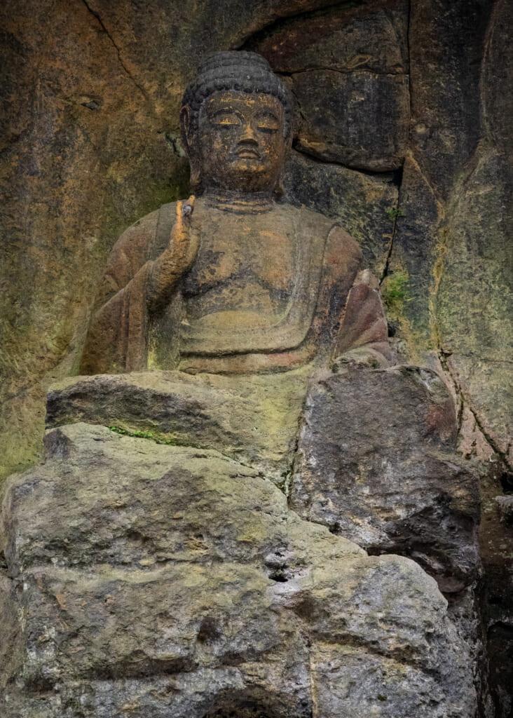 detail of 800-year-old Usuki Buddhas Statues in Usuki, Kyushu