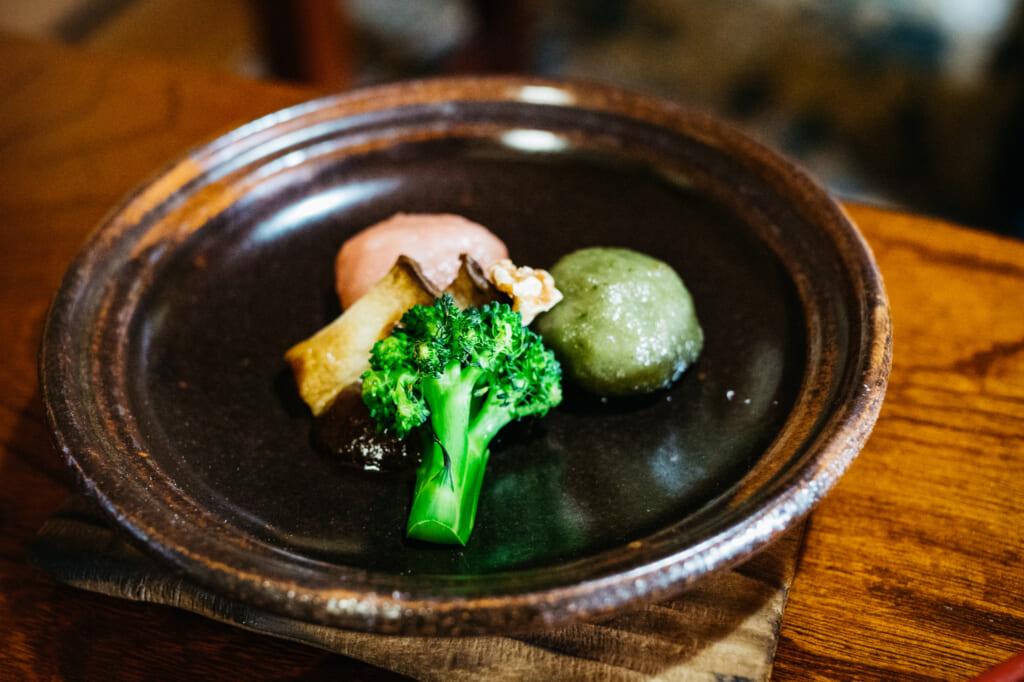 Buddhist vegan cuisine with broccoli in usuki, oita, kyushu