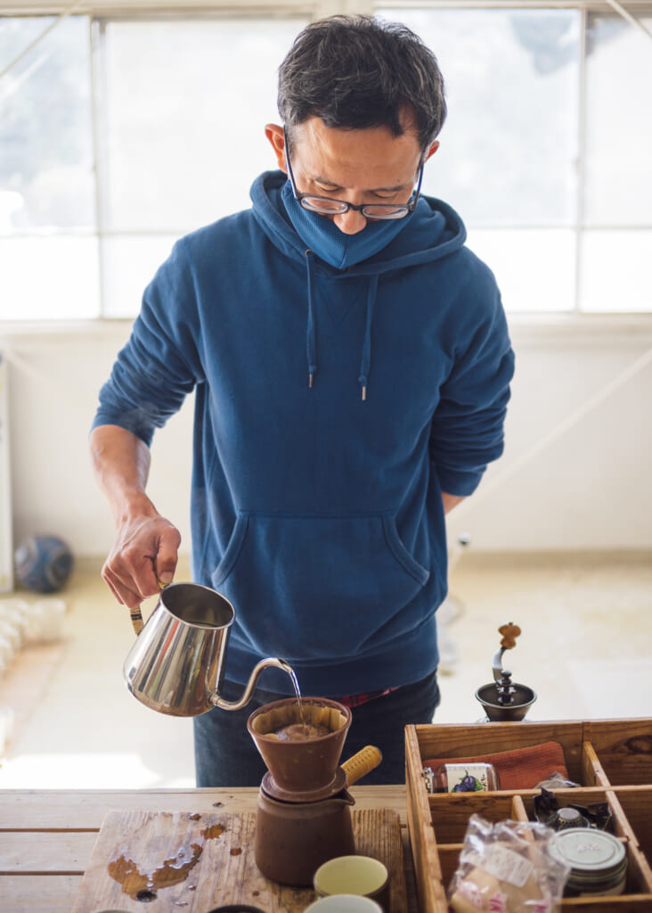 coffee drip in japan using traditional japanese ceramics and pottery