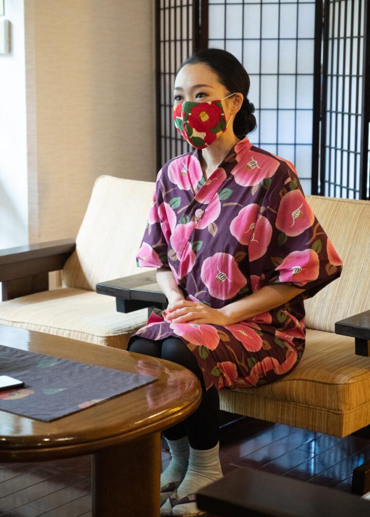 Japanese women in traditional ryokan clothing